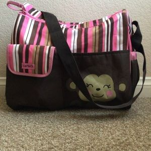 Carter's Diaper Bag - Monkey in Brown and Pink